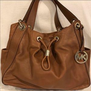 MICHAEL KORS Cognac Brown/Tan & Gold Shoulder Bag